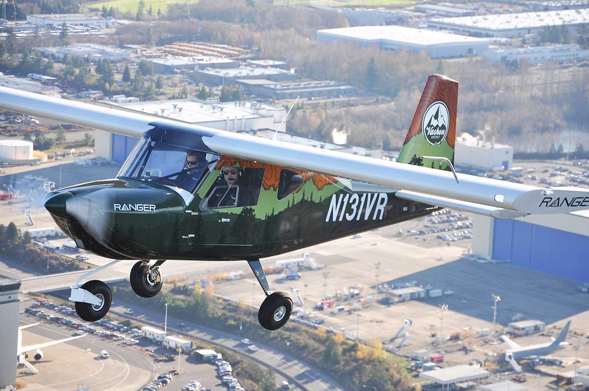 The Vashon Ranger R7 flying over it's home airport of Paine Field, WA